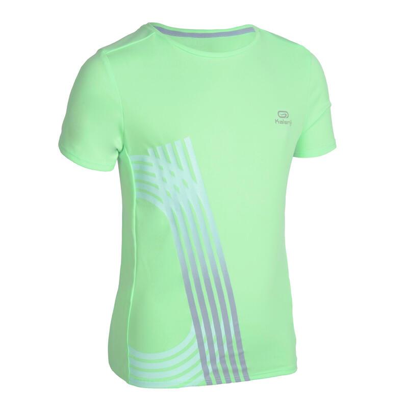 Camiseta Manga Corta Running AT 300 Niños Verde Fluorescente Transpirable
