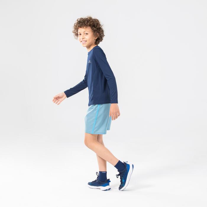 Áo thun dài tay chạy bộ chống tia UV AT300 cho trẻ em - Xanh dương