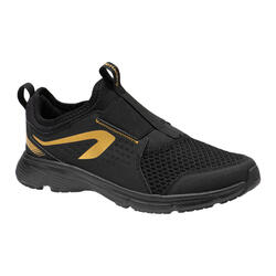 KIDS' ATHLETICS SHOES - KALENJI RUN SUPPORT EASY - BLACK AND GOLDEN