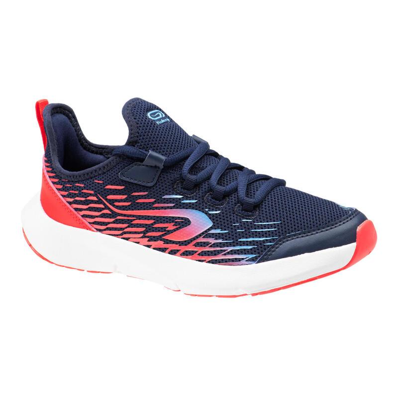 兒童款鞋帶跑鞋AT Flex Run - 海軍藍配螢光粉
