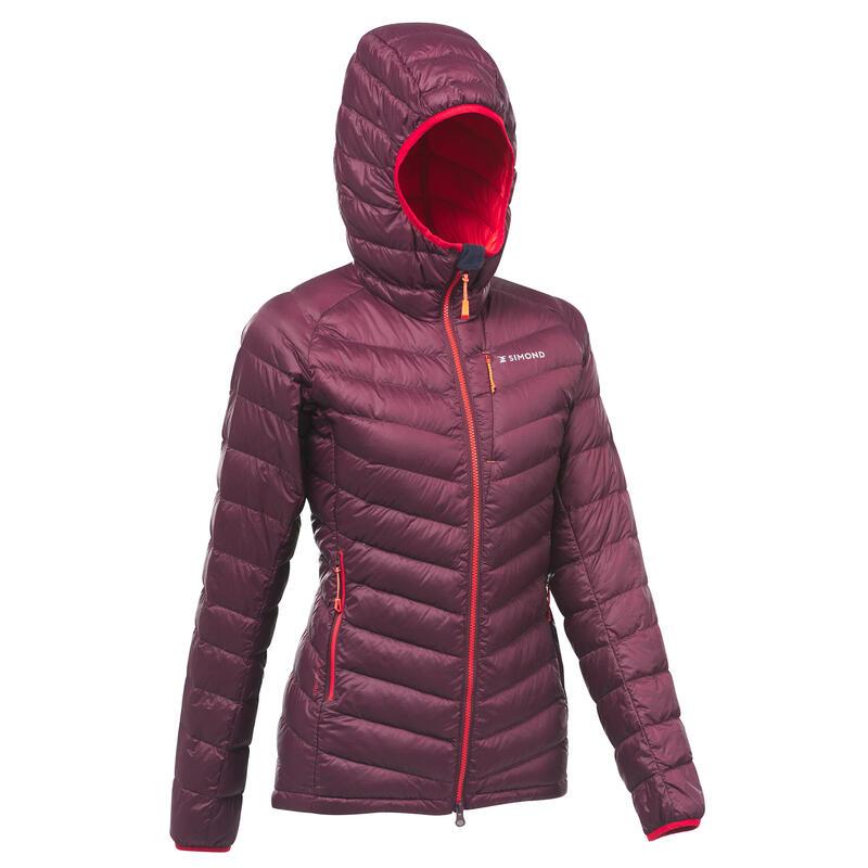 Women's Mountaineering Down Jacket - LIGHT MOUNTAINEERING - Burgundy