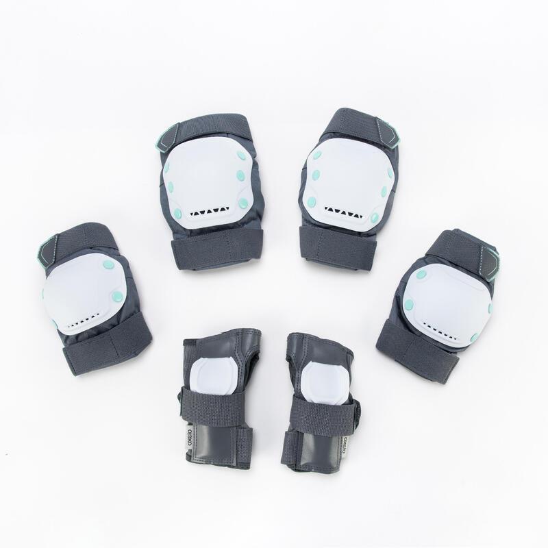 ชุดอุปกรณ์ป้องกันอินไลน์สเก็ตสำหรับผู้ใหญ่แบบ 3 ชิ้นรุ่น Fit500 สีเทา/เขียว