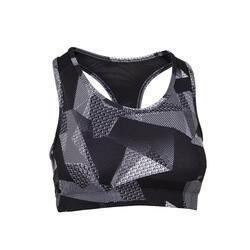 Women's Cardio Fitness Sports Bra 100 - Black Print