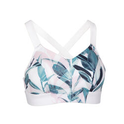 女款有氧健身訓練運動內衣500 - 白色印花
