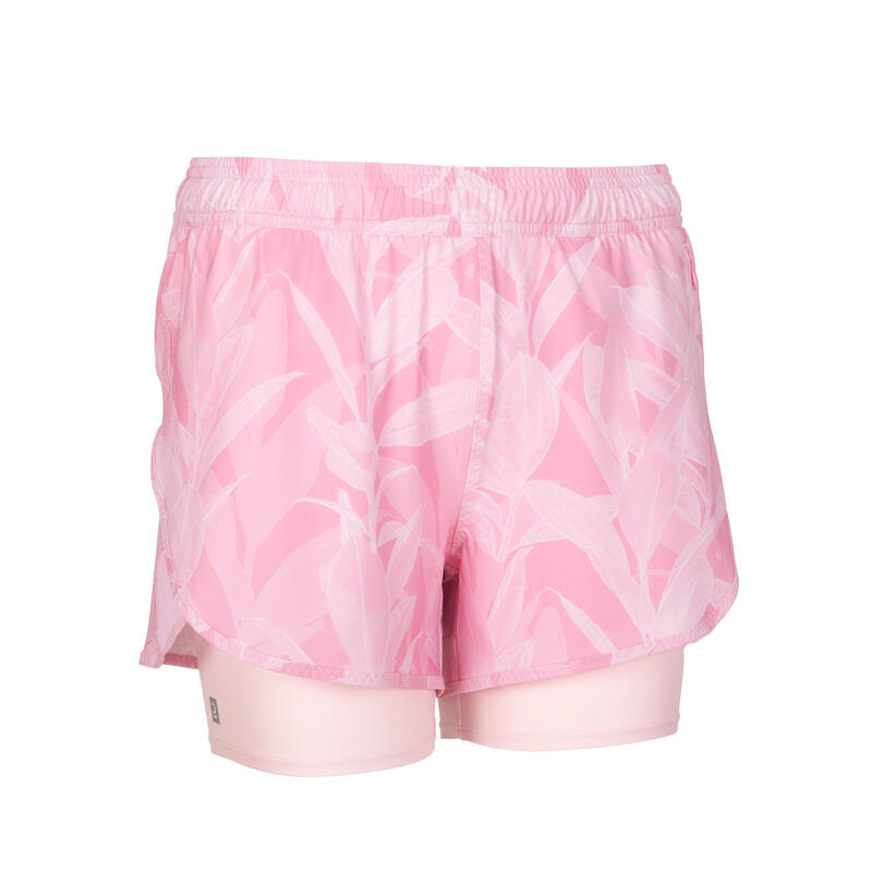 女款有氧健身訓練短褲520 - 粉色印花