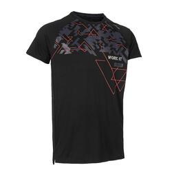 機能性健身T恤 - 黑色印花