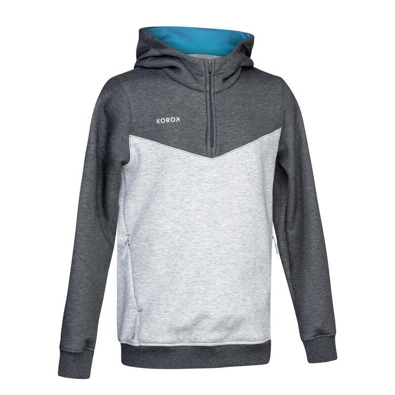 Sweat-shirt de hockey sur gazon garçon FH500 gris et turquoise
