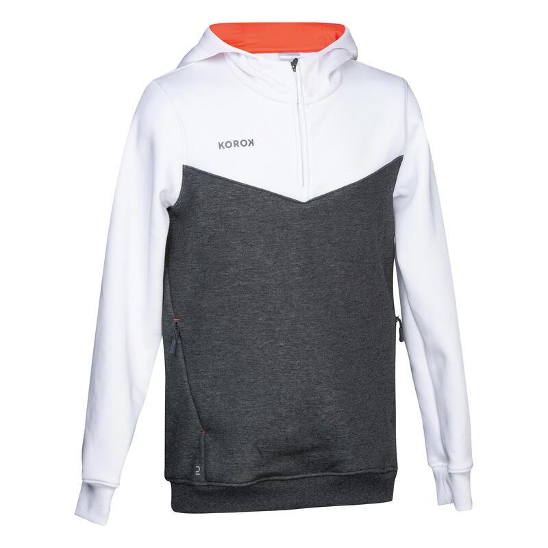 Sweat-shirt de hockey sur gazon fille FH500 blanc et rose
