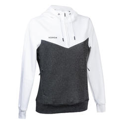 Sweat-shirt FH500 Femme blanc et gris foncé