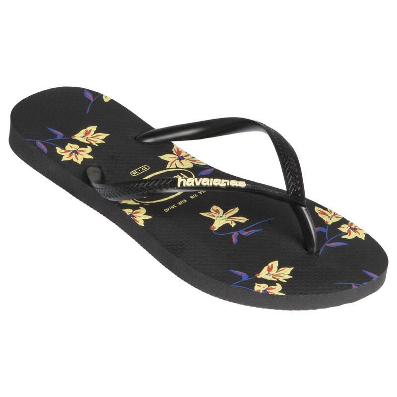 Women's Flip-Flops Havaianas Slim - Floral Black