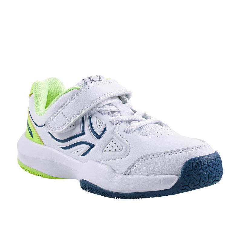 Tennisschoenen voor kinderen TS530 klittenband wit/geel
