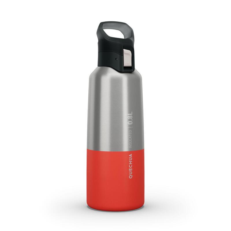 Isoleerfles voor wandelen en trekking MH500 roestvrij staal 0,8 l rood