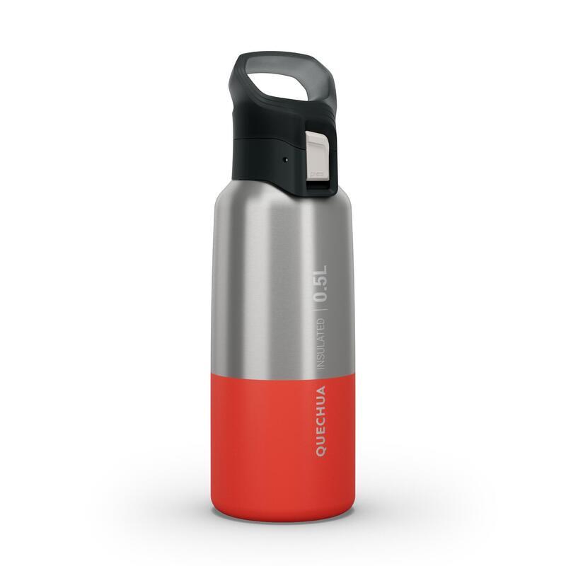 Isoleerfles voor wandelen en trekking MH500 roestvrij staal 0,5 l rood
