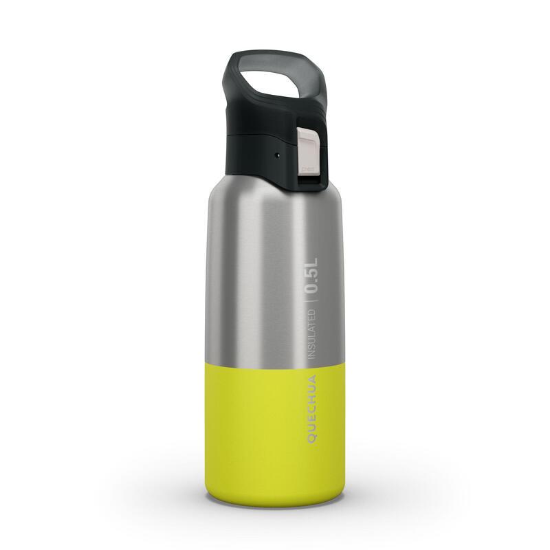 Isoleerfles voor wandelen en trekking MH500 roestvrij staal 0,5 l geel
