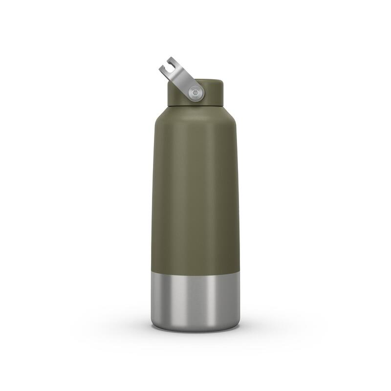 Stainless Steel Hiking Flask with Screw Cap MH100 1 L Khaki