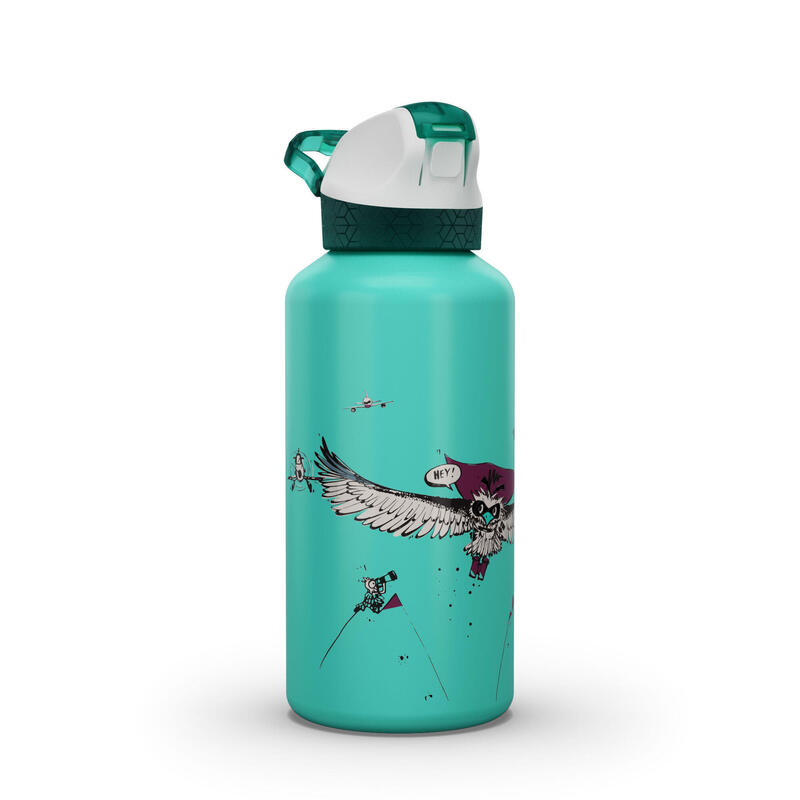 Kids' Alu Hiking Water Bottle 900 0.6 Litre Vulture Limited Edition - Turquoise