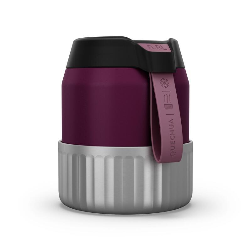 Boîte alimentaire MH500 isotherme randonnée inox 0,8L violet avec bol