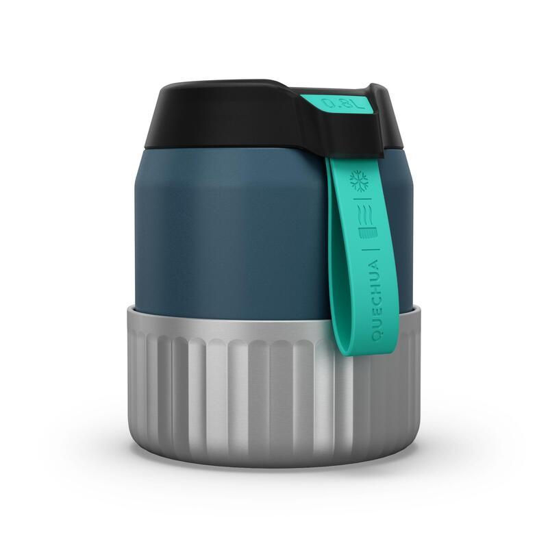Boîte alimentaire MH500 isotherme randonnée inox 0,8L bleu avec bol