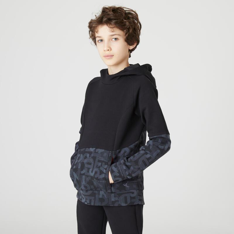Sweat capuche poches zippées noir imprimé ENFANT