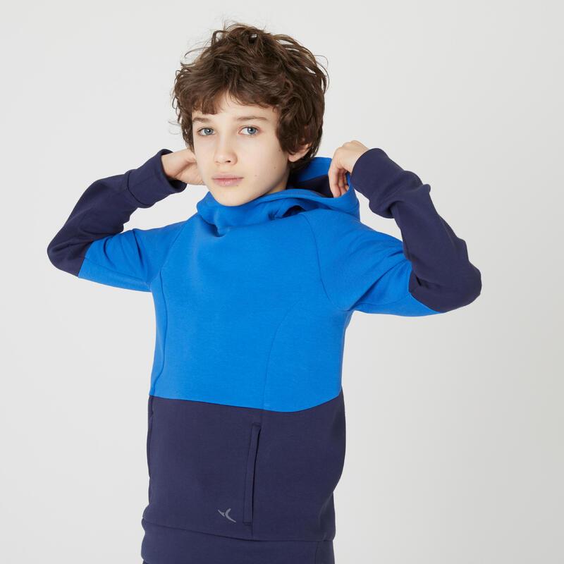 Sweat capuche poches zippées marine bleu ENFANT