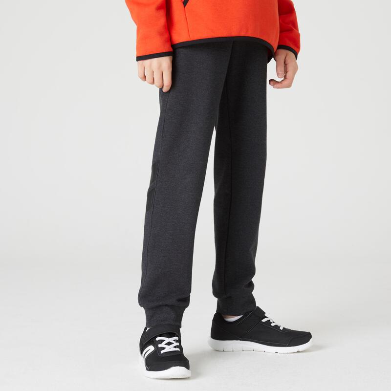 男童毛圈布健身長褲100 - 深灰/小腿印花