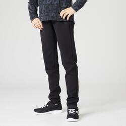 男童保暖透氣修身剪裁拉鍊口袋棉質健身長褲500 - 黑色