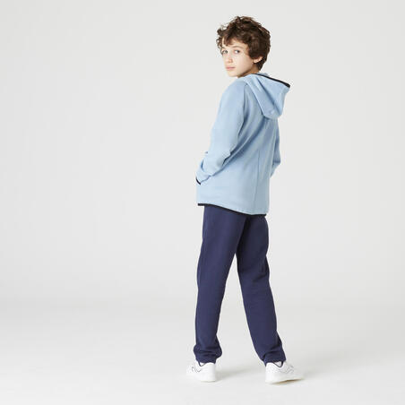 Pantalon ajusté molleton chaud gym enfant 100 marine– Garçon