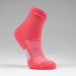 Lot X2 de chaussettes AT 500 mid enfant unies roses et rayées rose