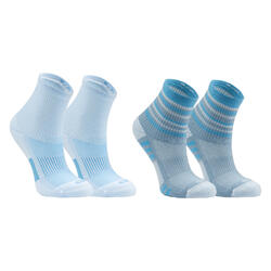 Kids' Athletics Socks AT 300 Comfort 2-Pack - striped and plain blue