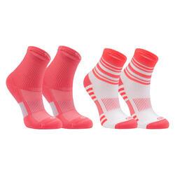 2入組兒童款田徑襪AT 300 Comfort - 粉色條紋和素面
