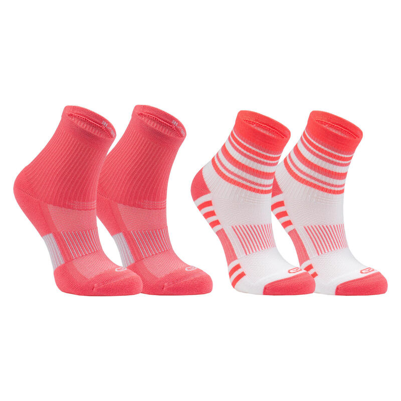 Kids' Socks AT 500 Mid 2-Pack - plain pink and pink stripe