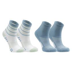 2入組兒童款田徑襪AT 300 Comfort - 灰色條紋和素面