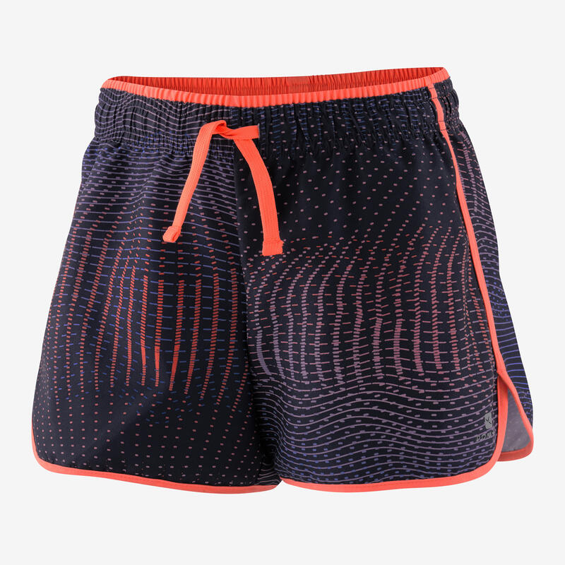 Girls' Synthetic Breathable Shorts - Blue/Coral/Print