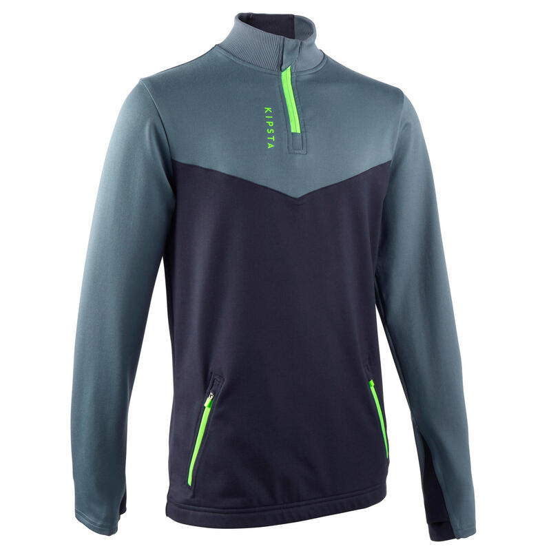 Sweat 1/2 zip d'entraînement de football enfant T500 gris, bleu marine zip vert