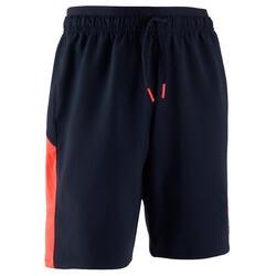兒童款足球短褲F520 - 海軍藍配螢光粉