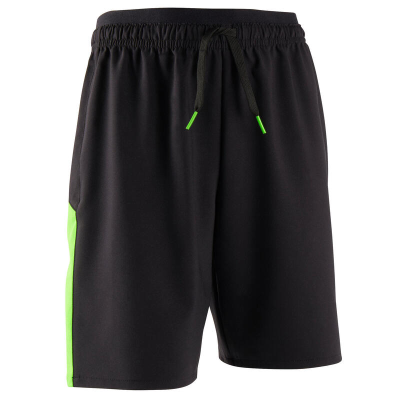 F520 Kids' Football Shorts - Black/Neon Green