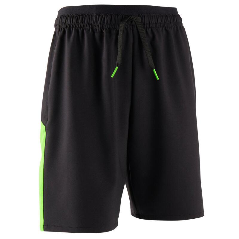 Short de football enfant F520 noir et vert fluo