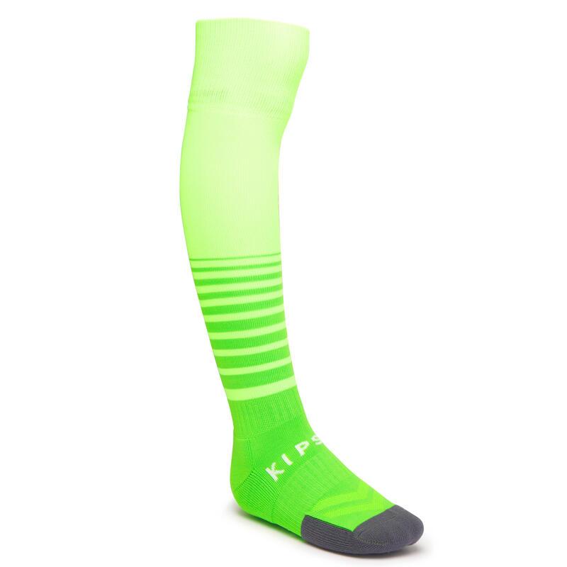 Medias de fútbol con rayas Kipsta F500 niños verde fluorescente