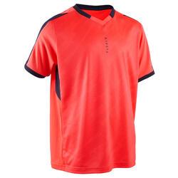 兒童款短袖足球運動衫F520 - 螢光粉