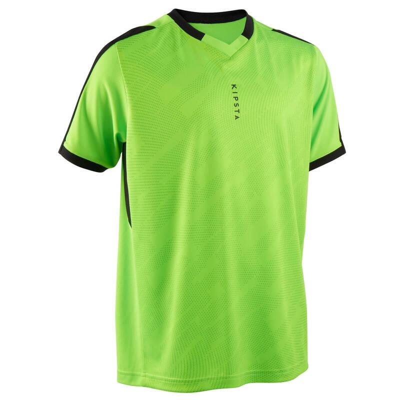 DĚTSKÉ OBLEČENÍ DO TEPLÉHO POČASÍ Fotbal - DĚTSKÝ DRES F520 ZELENÝ FLUO KIPSTA - Fotbalové oblečení