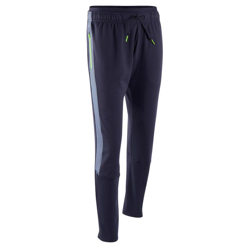 Pantalon d'entraînement de football enfant TP 500 Bleu marine, gris et zip vert