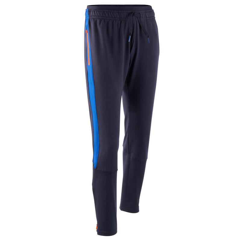 Pantalon d'entraînement de football enfant TP 500 Bleu marine et bleu