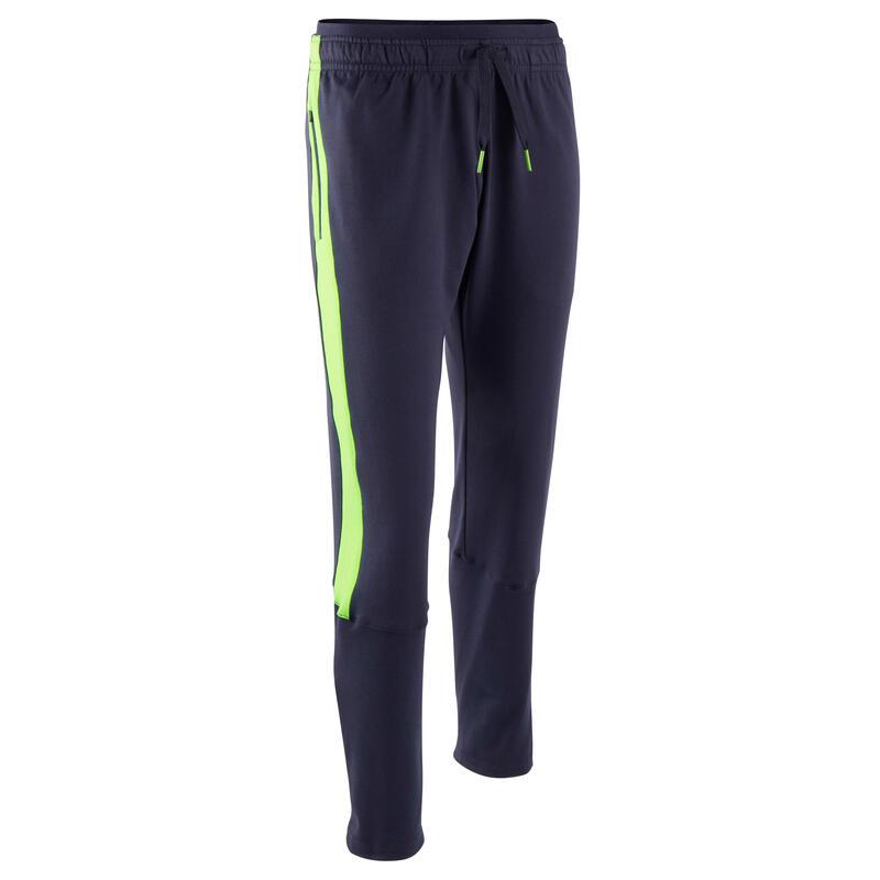 Pantalon d'entraînement de football enfant TP 500 Bleu marine et vert fluo