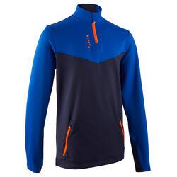 Camisola de treino com 1/2 fecho Futebol Criança T500 azul/azul marinho