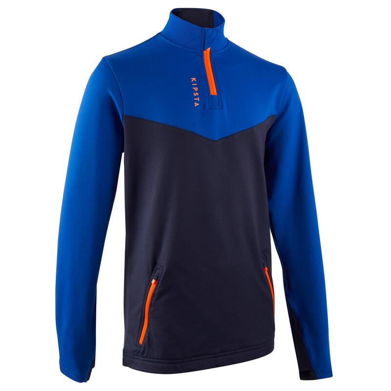 Bluză cu Fermoar scurt Fotbal Albastru-Bleumarin Copii