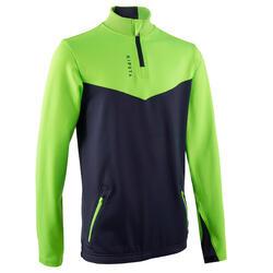 Camisola de treino Futebol com 1/2 fecho Criança T500 Verde néon e azul marinho