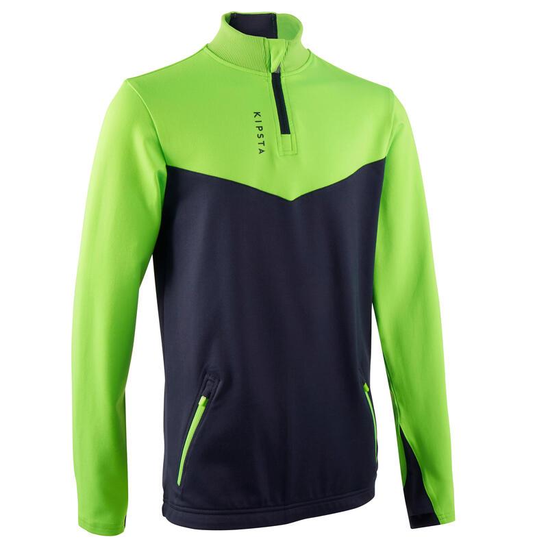 Sweat 1/2 zip d'entraînement de football enfant T500 vert fluo et bleu marine
