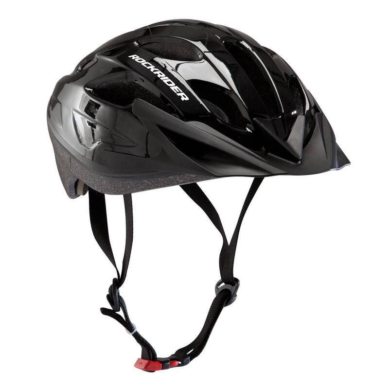 PŘILBY NA HORSKÁ KOLA Cyklistika - HELMA NA HORSKÉ KOLO 50 ČERNÁ ROCKRIDER - Helmy, oblečení a obuv