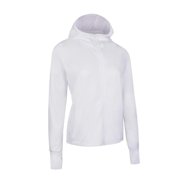 女款跑跑步連帽外套SUN PROTECT白色
