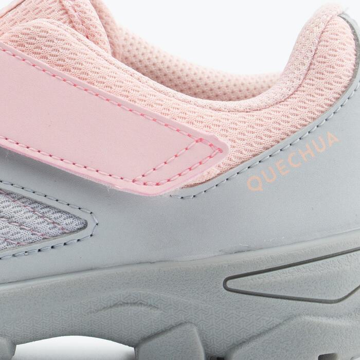 兒童款魔鬼氈健行鞋MH100 (24到34號)-灰色/粉色